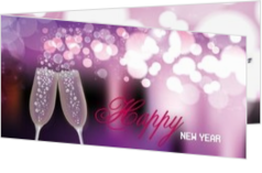 Neues Jahr Karten - Weihnachtskarte happy new year on purple/pink, ll