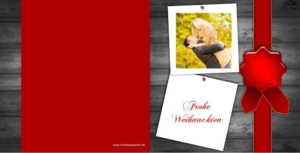 Weihnachtskarten Mit Eigenem Bild.Weihnachtskarte Mit Eigenem Foto Und Roter Schleife