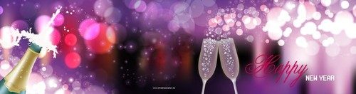 happy new year on purple/pink, ll Rückseite/Vorderseite