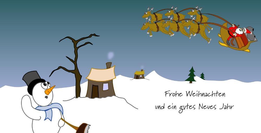 weihnachtskarte mit lustigem rentier mit dekoration. Black Bedroom Furniture Sets. Home Design Ideas