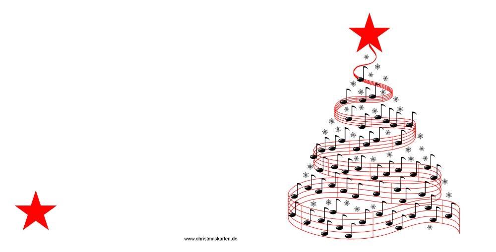 weihnachtskarte mit weihnachtsbaum aus musiknoten