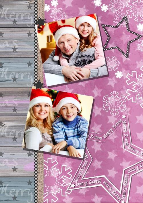 weihnachtskarte mit eigenem foto und silberschnee. Black Bedroom Furniture Sets. Home Design Ideas